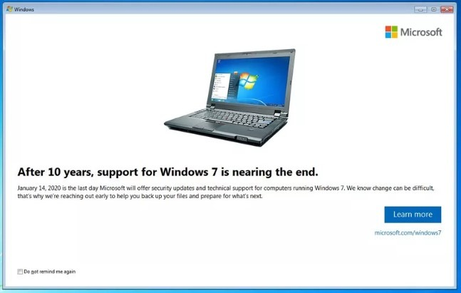 Microsoft Windows 7 end of support